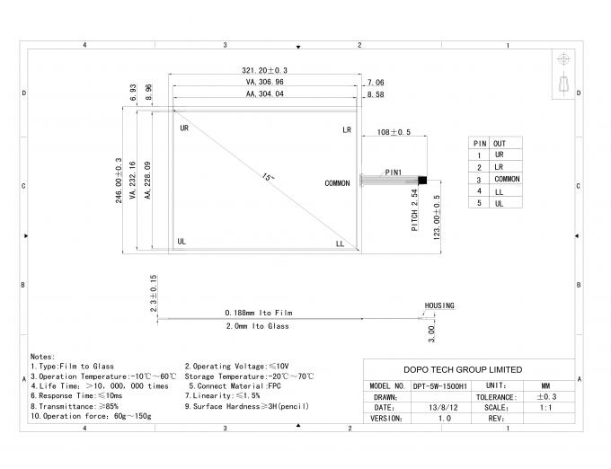 USB Interface 15 inch Resistive Touch Panel Glass with