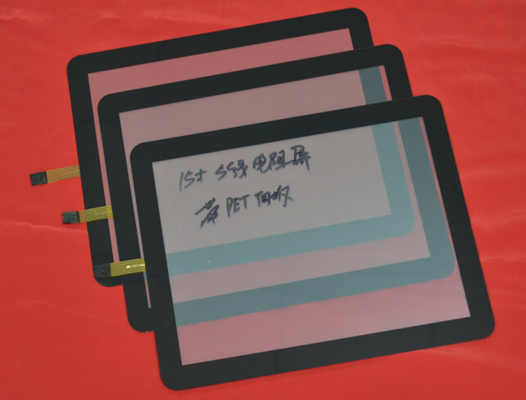 "China PET Panel 15 ""  Pure Flat 5 Wire Resistive Touch Panel Screen With USB Cable supplier"